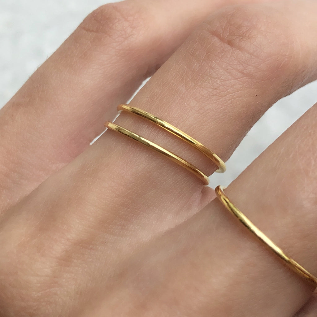 yellow gold delicate stacking ring