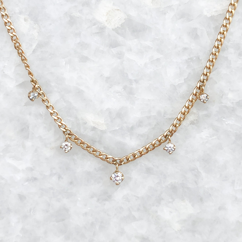 xs curb chain 5 solitaire diamond necklace
