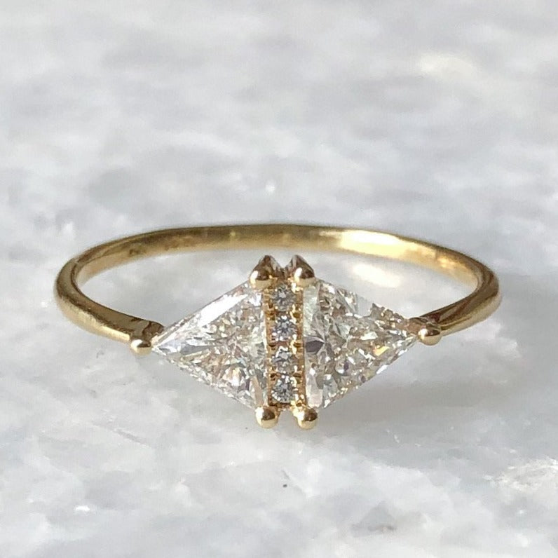 vintage diamond triangle ring 05