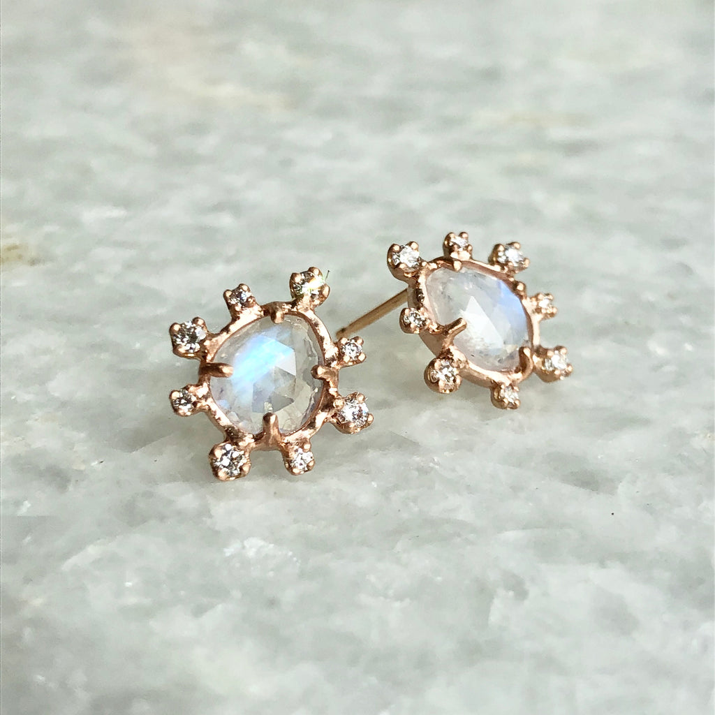 moonstone starburst earrings