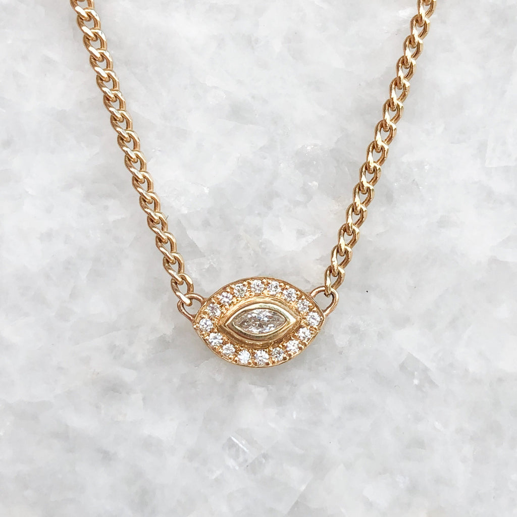 xs diamond marquis halo necklace