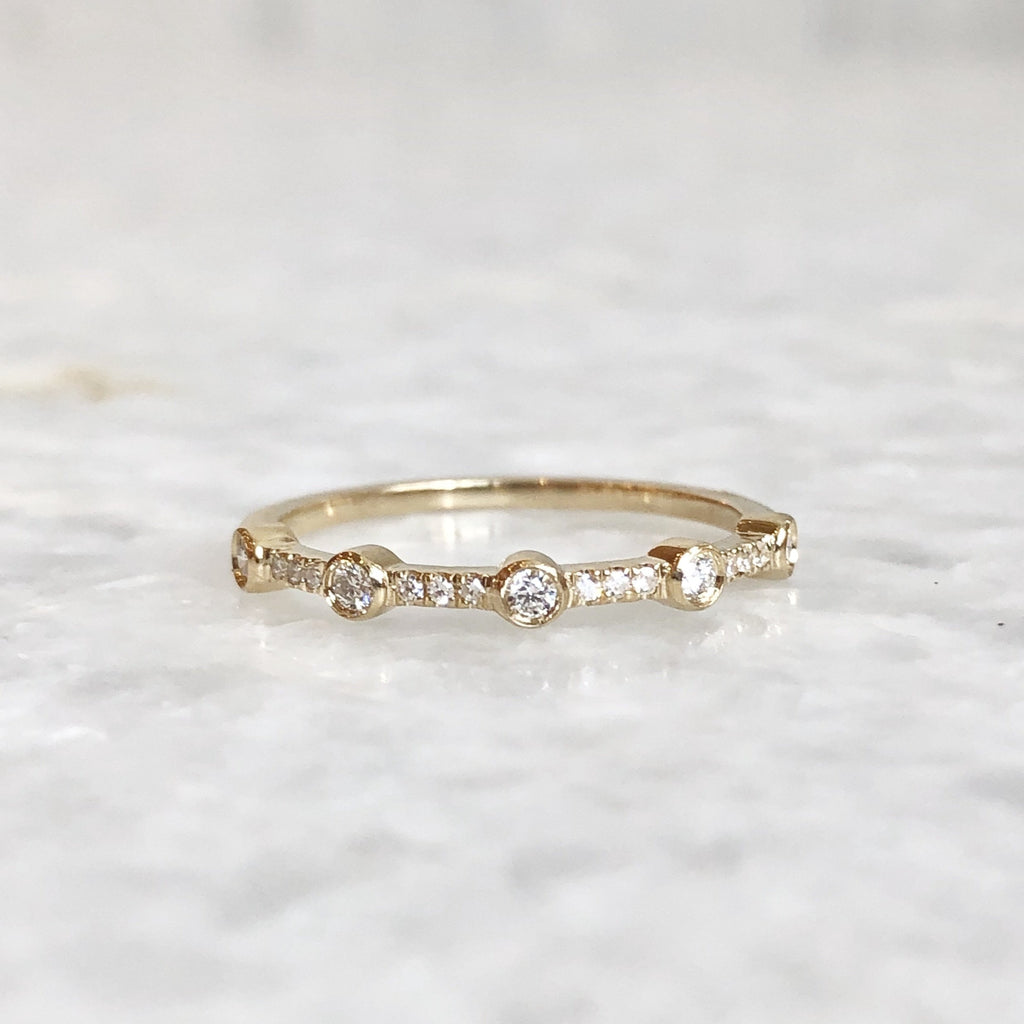 5 diamond bezel stack ring