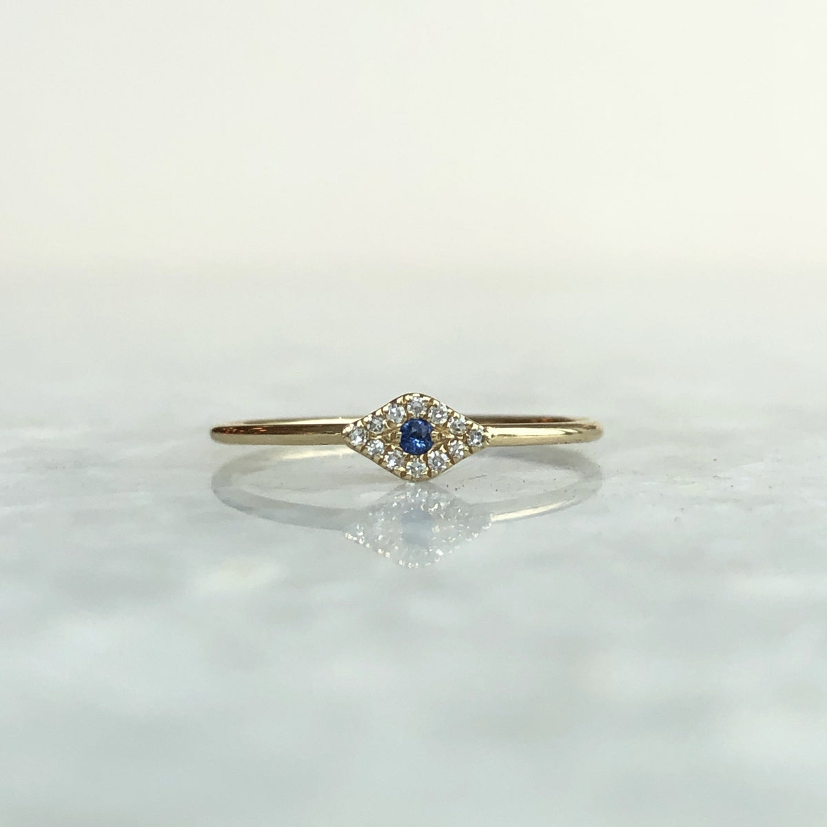 diamond & sapphire evil eye stack ring
