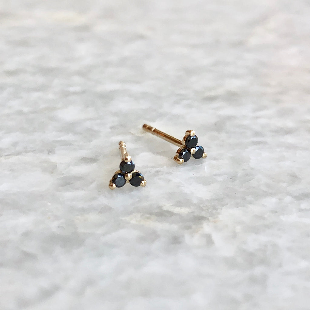 black diamond tiny trio stud