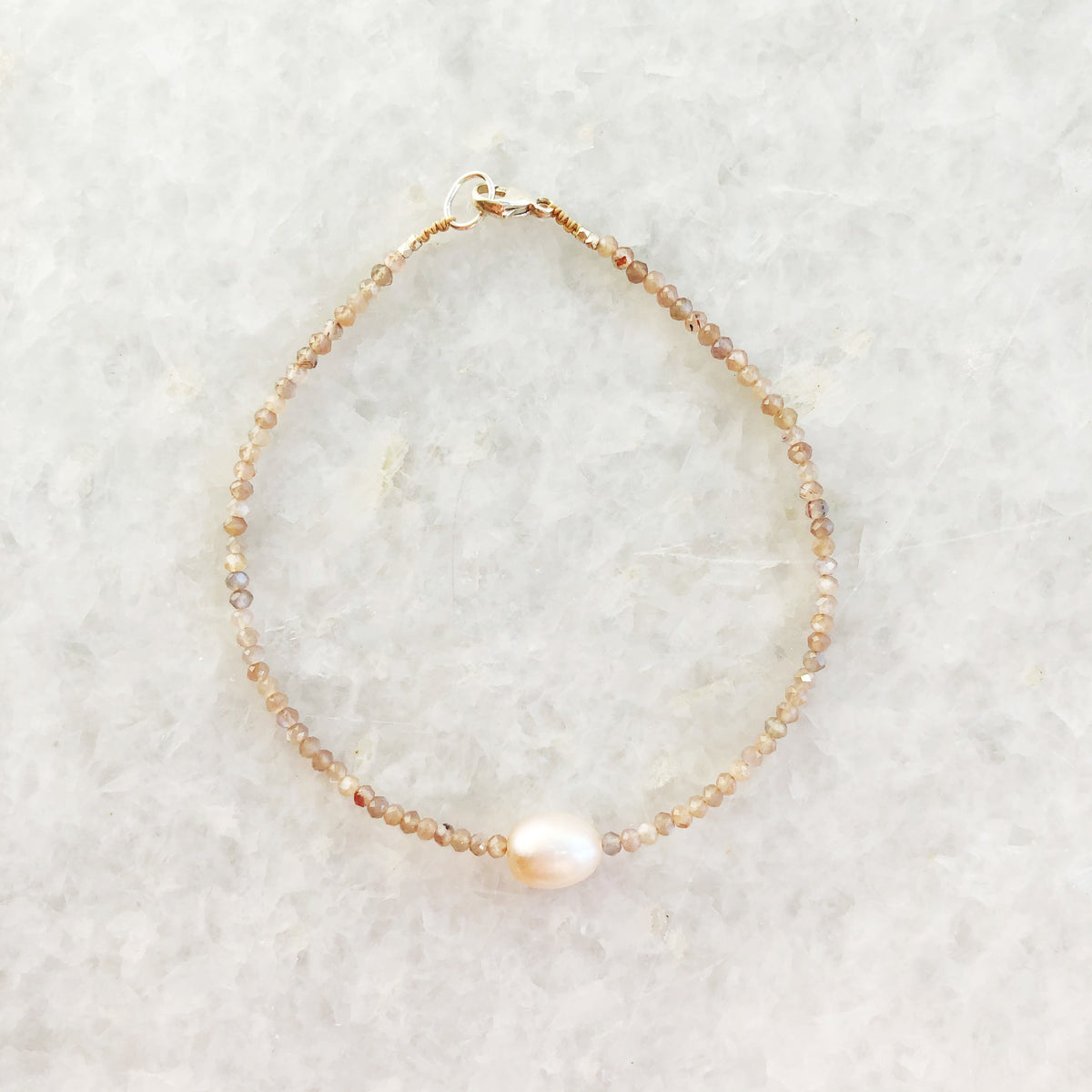 chocolate moonstone + pink pearl beaded bracelet