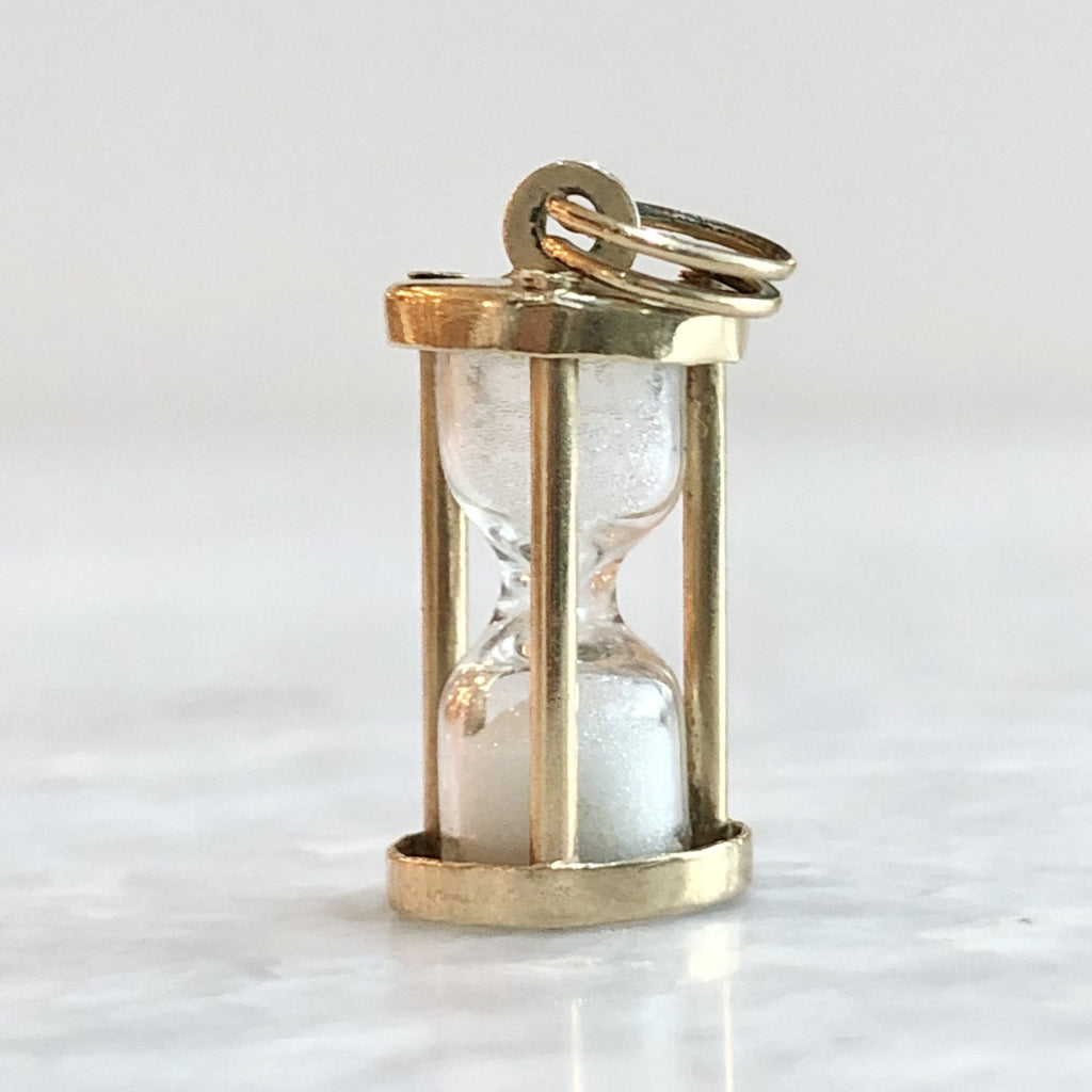 vintage sands of time hourglass charm