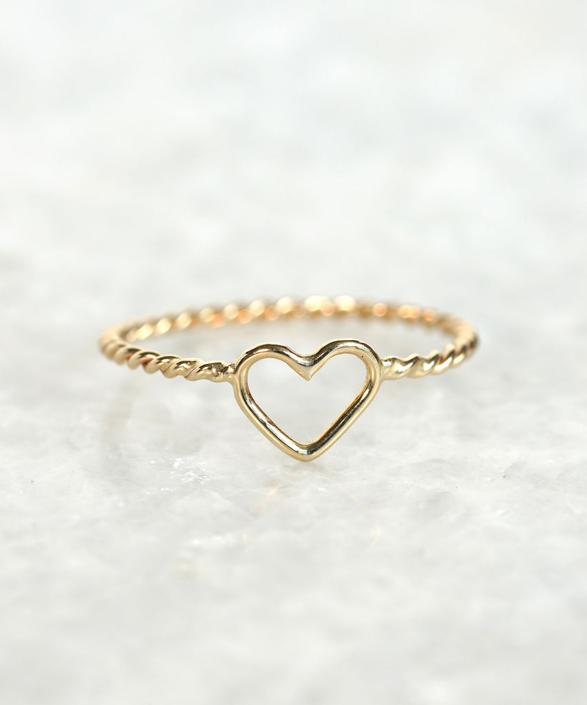 twist rope heart ring