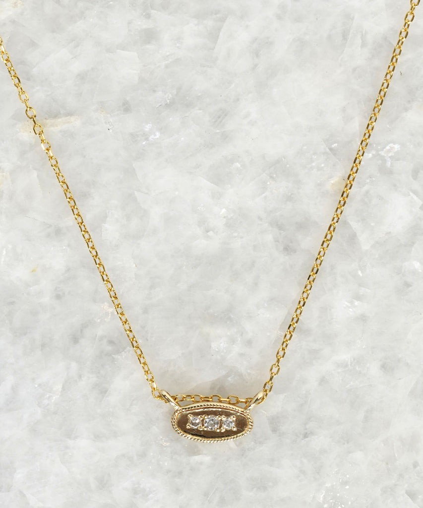 oval diamond mirror necklace