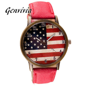 Genvivia Women's Watch American Flag Pattern