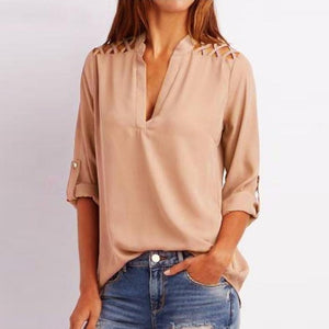 Women Chiffon Blouse Fashion Tab-Sleeve Hollow Out Bandage Blouse Shirt Solid Half Sleeve Tops