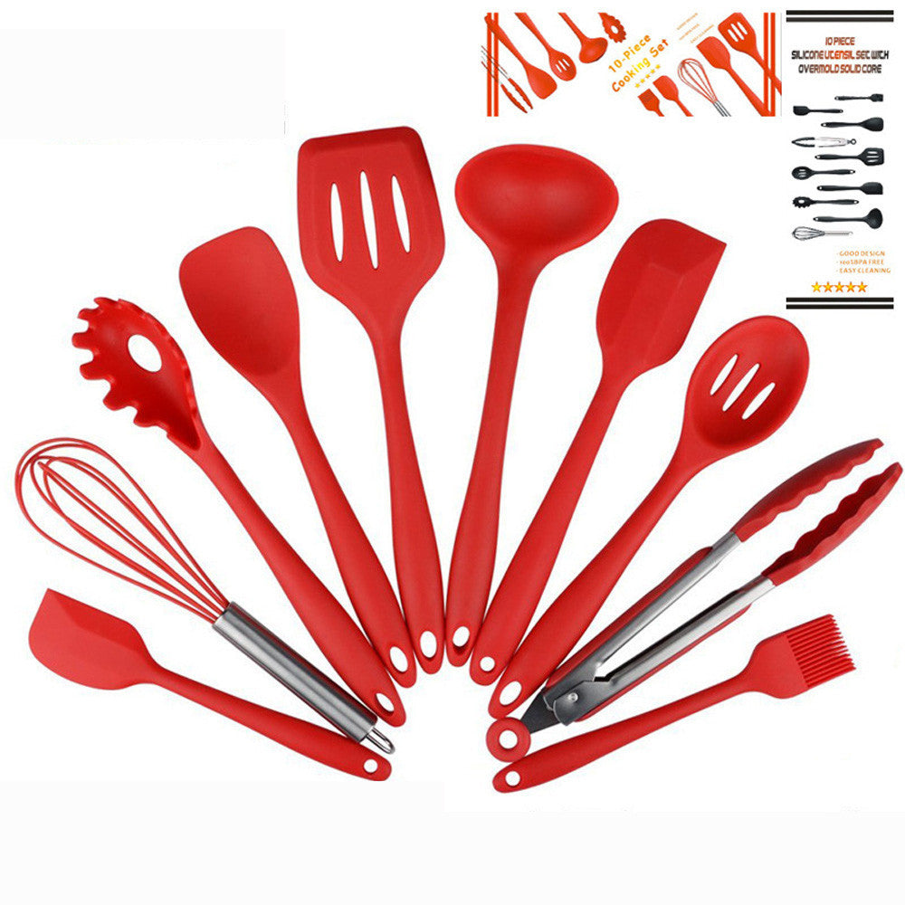 Set of 10pcs Silicone Kitchen Cooking/baking Utensils Premium Heat Resistant and Non-Stick Tools