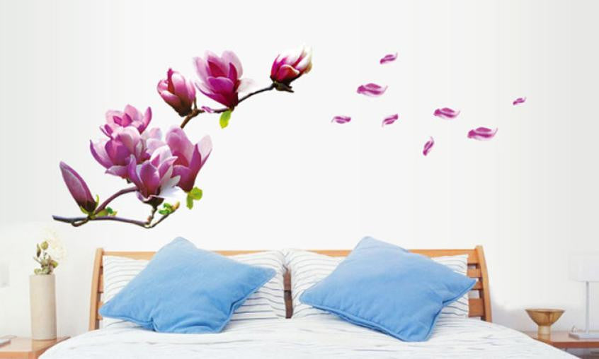 Wall sticker poster Mural Magnolia Flowers Removable Art Vinyl decals home decor Art Mural decorations poster
