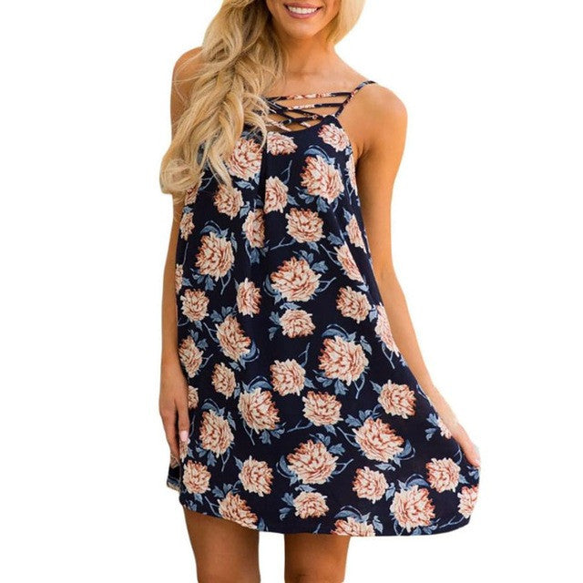 Boho Dress Summer Women Flower Print Evening Party Mini Chiffon Dress Beach Dress Cross Front Sundress