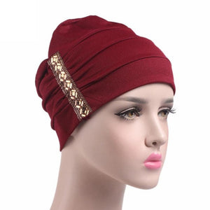 New Arrival Sequins Women Hat Beanie Scarf  Head Wrap Cap