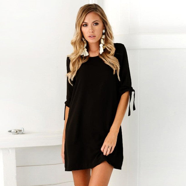 Half Sleeve Autumn Dress Women Solid Bow knot Sleeves Cocktail Mini Dress High Quality Short Dresses