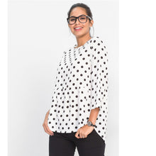 Fashion New Blouse Women Polka Dot Tops Three Quarter Sleeve Irregular O Neck Tops Autumn Blusas Black White Shirt
