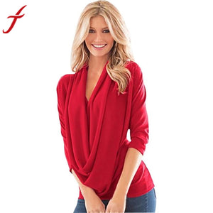 Women Slim Irregular Three Quarter Sleeve Blouse Top Red Gray Clothing Solid Cotton Shirt