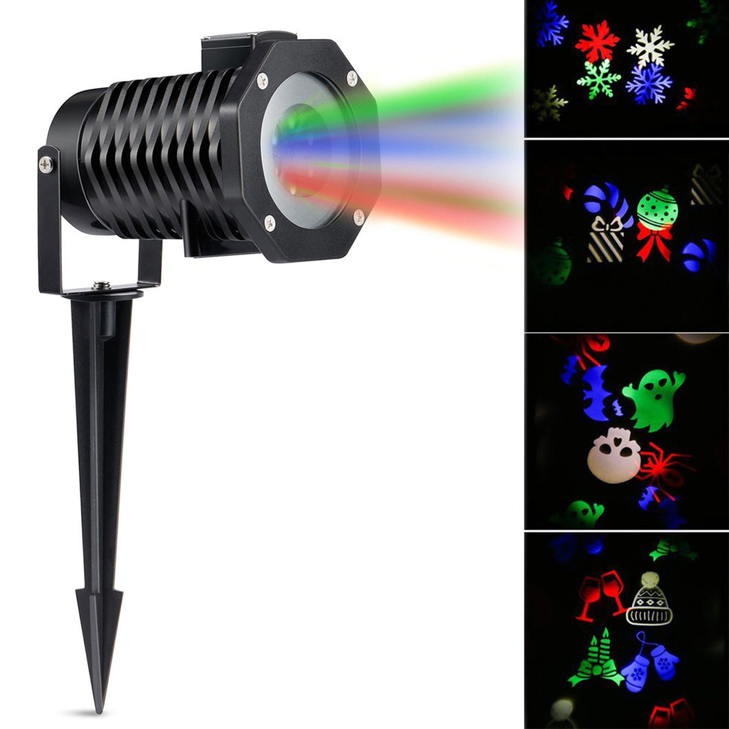 LED Projector Light RGB Lawn Light Landscape Light with 10 Gobo Slides for Xmas Birthday New Year Halloween Party Holiday