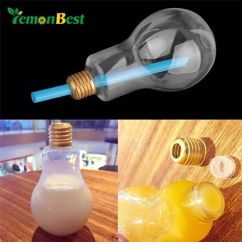Plastic Light Bulb Water Bottle Fruit Juice with Bottle Lid