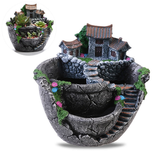 Micro Landscape Artificial Plants Pot Tiny Creative Flower Pot Holders Hanging Garden Design with Sweet House