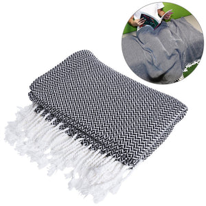 WINOMO Lightweight Thin Throw Blanket Woven Cotton Thread Reversible with Tassels for Couch Chair Sofa