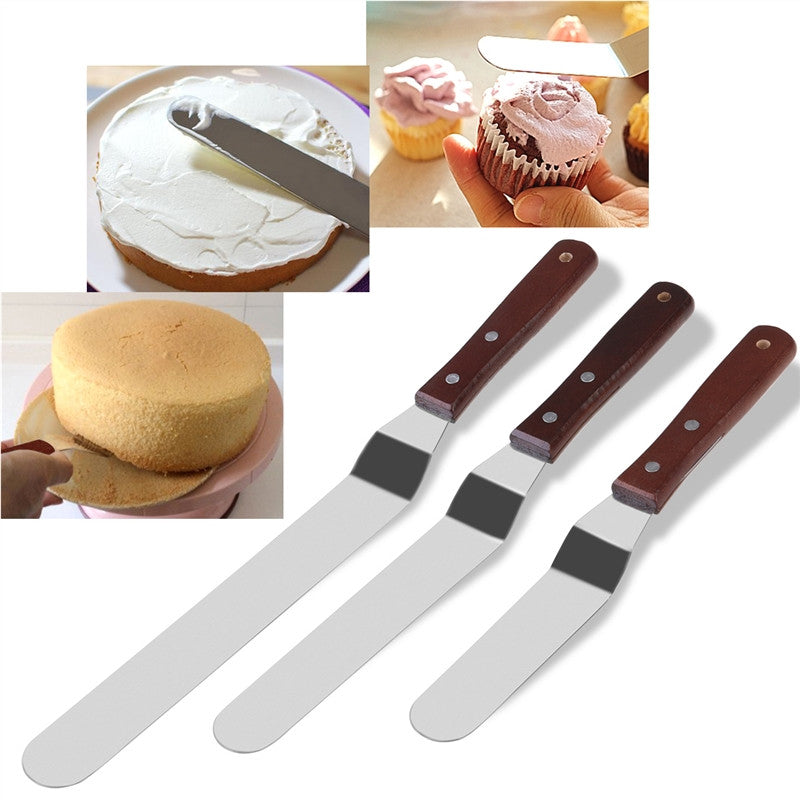 3PCS Angled Cake Icing Spatula Knives Wooden Handle & Stainless Steel Decorating and Baking Supplies