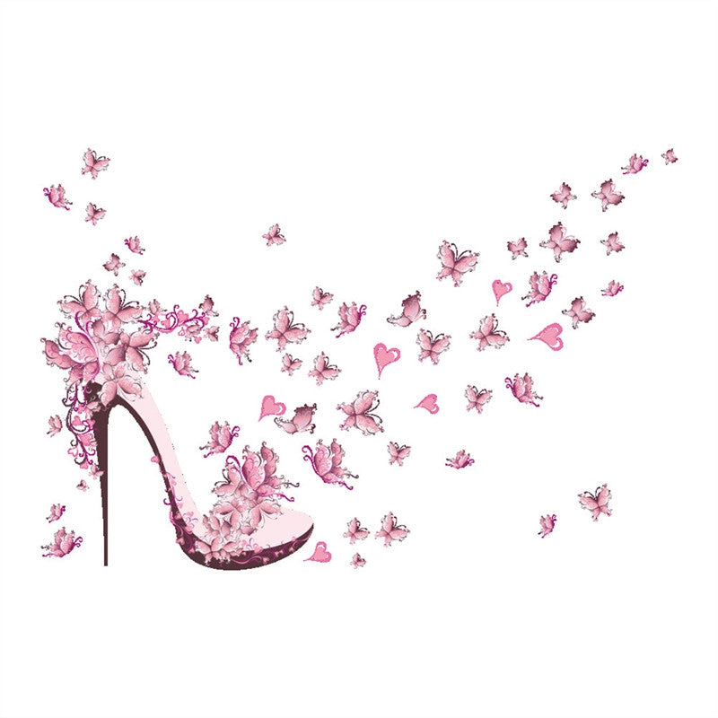 Pink Butterfly High Heel Wall Stickers DIY Art Mural Decor Removable Wall Decals Home Decoration