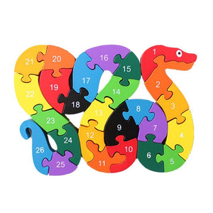 Children Wooden From A to Z Alphabet Puzzles Educational Games Intelligence Toys Snake Toy Gift