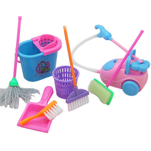 9pcs Mini Simulation Home Cleaning Tools Playset Mini Floor Broom Mop Dust Collector Toy for Barbie Doll House Cleaning