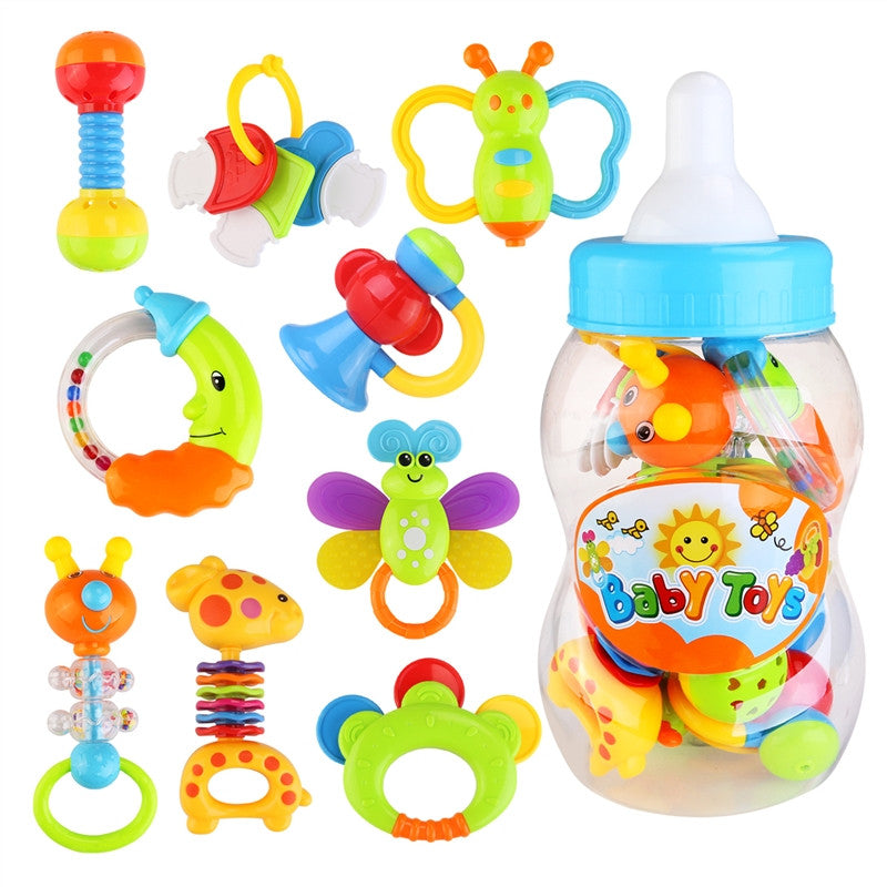 9pcs Baby's First Rattle and Teether Toy with Giant Milk Bottle Grasp Colorful Toy