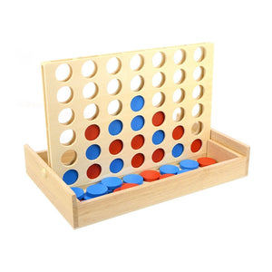 Four in A Row Wooden Game Line Up 4 Classic Family Toy Board Game for Kids and Family Fun Toys