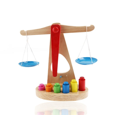 Wooden Balance Scale Children Educational Toy with 6 Multi color Weights