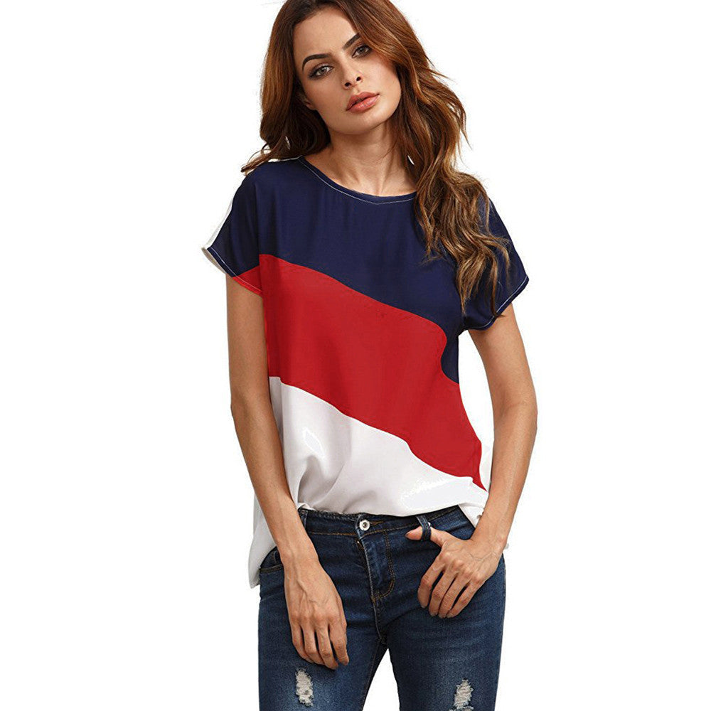 Women's Color Block Chiffon Short Sleeve Casual Blouse Shirts Tunic Tops