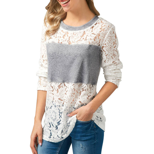 Women Casual Lace Patchwork Shirt Long Sleeve Blouse