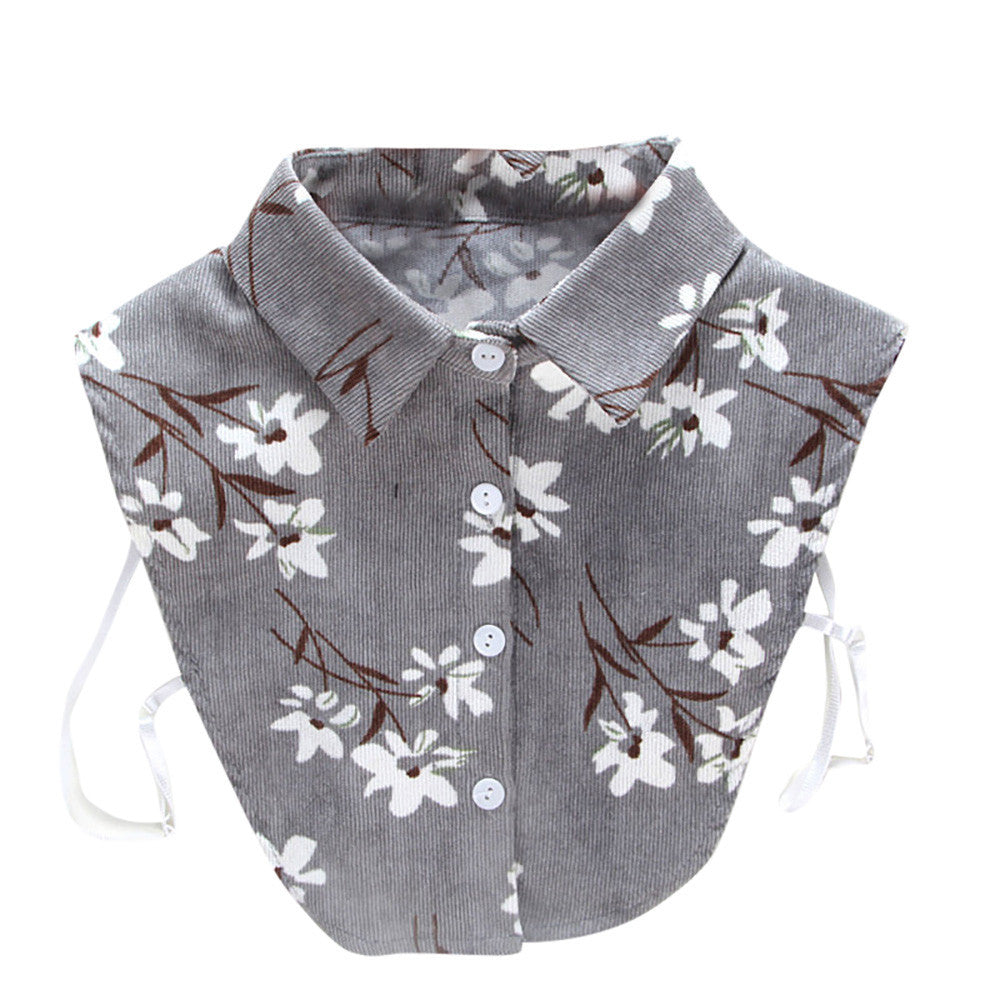 Women New Print Floral Blouse False Collar Clothes Shirt Detachable Collars