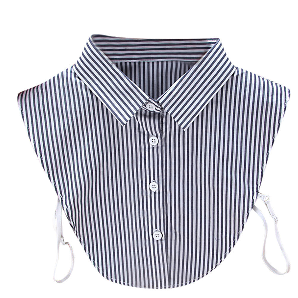 Women New Stripe Blouse False Collar Clothes Shirt Detachable Collars
