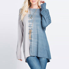 Women Long Sleeve Plus Size Patchwork T-Shirt Loose Blouse Casual Tops