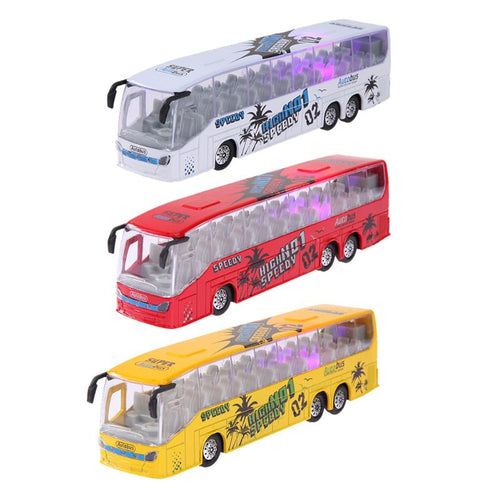 1:50 Scale Pull Back Music Alloy Bus Metal Diecast Car Model LED Flashing Light Toys Vehicle Children Kids Toy Gift