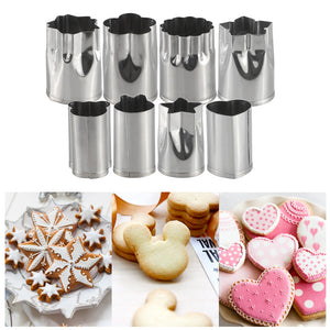 8pcs/Set Stainless Steel Embossing Mold Flower and Cartoon Shape with 2pcs Non Slip Protect Cover Vegetable Shape Cutters DIY Cookies/Fruit/Vegetable
