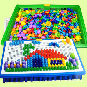 296Pcs High Quality DIY Creative Mushroom Nail Plug Puzzle Board Classic Children Plug Beads Intelligence Educational Toy BM88