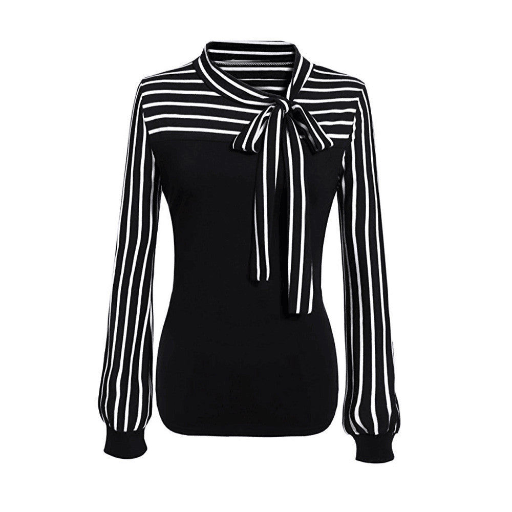 Women Tie-Bow Neck Striped Long Sleeve Splicing  Shirt Blouse