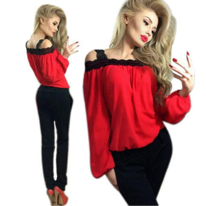 Women Off Shoulder Long Sleeve Shirt Lace Chiffon Blouse Loose Top