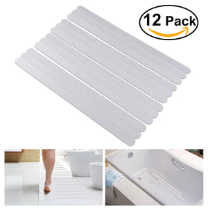 OUNONA 12pcs Non Slip Strips Stickers for Bath Shower (White)
