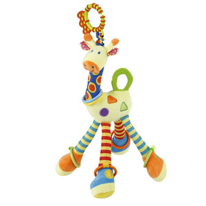 Plush Lovely Giraffe Toy Developmental Interactive Infant Baby Handbells Rattles Soft Handle Toys For Crib High Chair