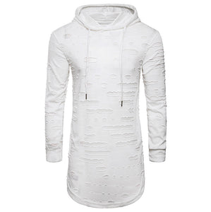 Men's Fashion  Hoodie Hole Long Sleeve T Shirt Casual Top Blouse