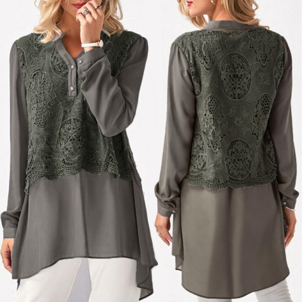 Women Casual Solid Lace Patchwork Long Sleeve Chiffon Layered Tops Shirts