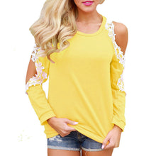 Women Off Shoulder Lace Top Long Sleeve Blouse Ladies Casual Tops
