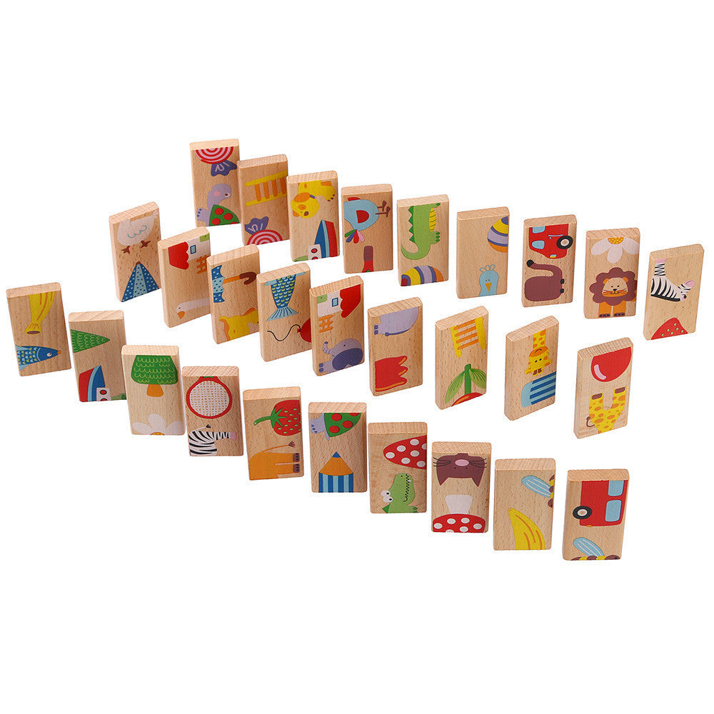 28Pcs/Set Animal Domino Puzzles Toys Wooden Puzzles Domino Blcoks Kids Baby