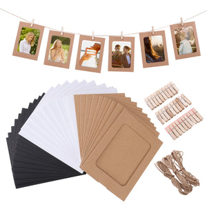 30pcs DIY Kraft Paper Photo Frames Hanging Wall Decoration with 30pcs Clips and 3pcs