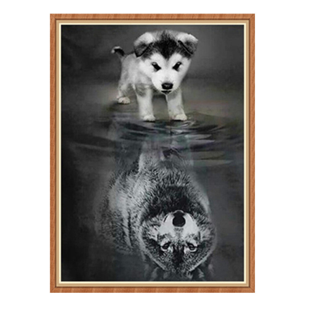 5D Frameless Diamond Embroidery Painting of Dog and Its Inverted Reflection Handmade